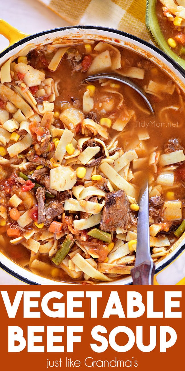 Vegetable Beef Soup in a stockpot