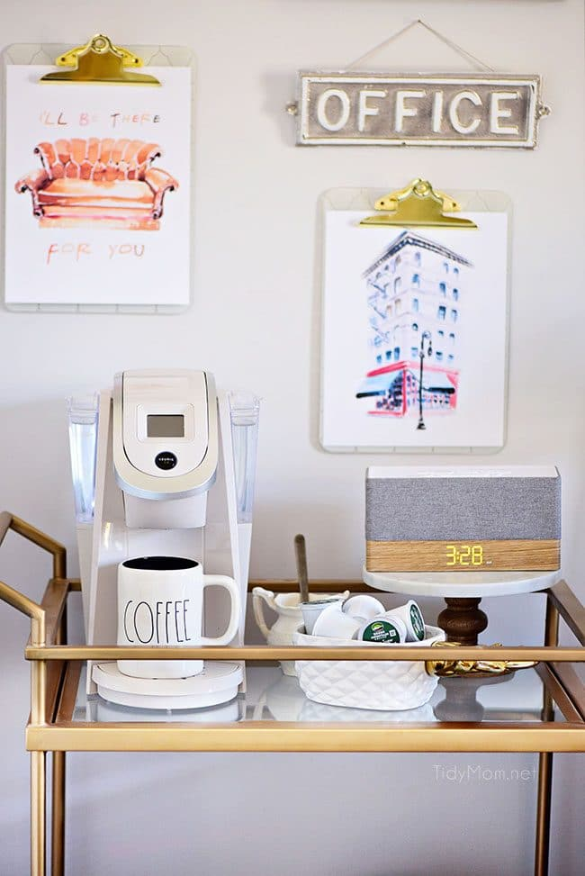 Decorating a shared home office tidymom for Coffee carts for office