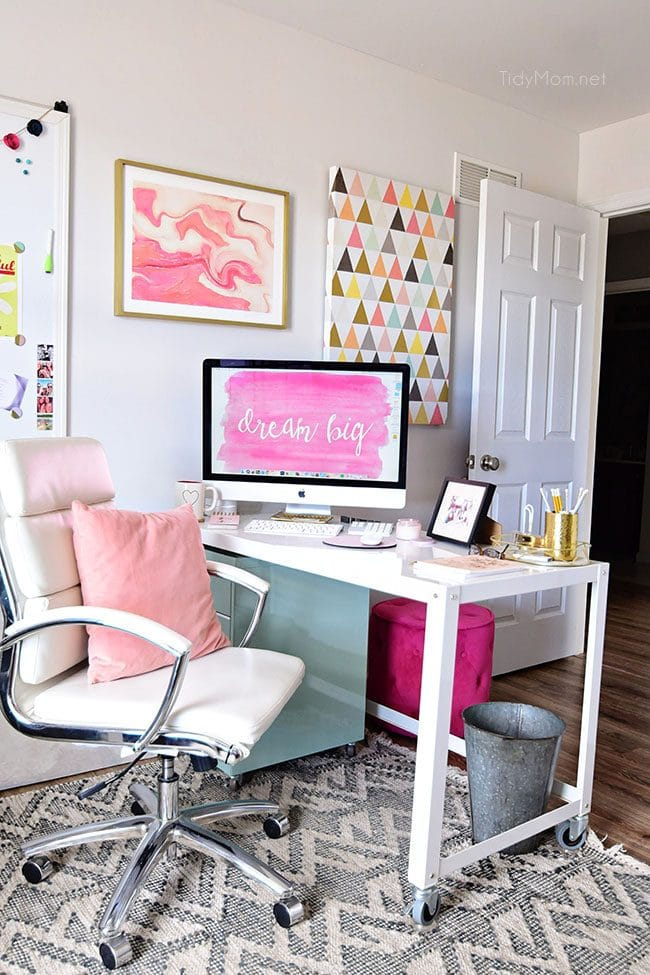 Decorating A Shared Office, With Colorful Industrial Style. Her Side Is  Pink And Gold