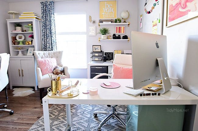 Decorating home office Interior Decorating Shared Office With Colorful Industrial Style Her Side Is Pink And Gold Tidymom Decorating Shared Home Office Tidymom