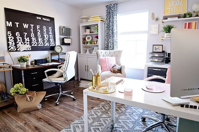 Decorating A Shared Office With Colorful Style Her Side Is Pink And Gold