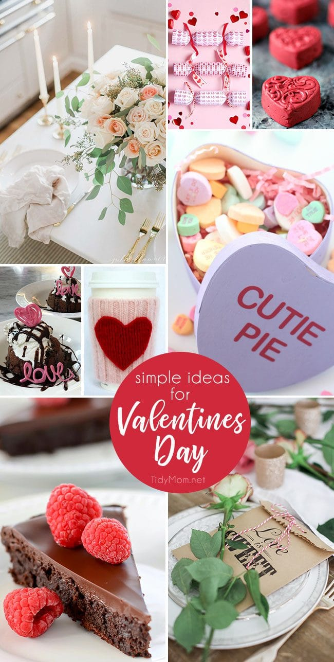 Simple Ideas for Valentines Day, from desserts and crafts to flower arrangements and table settings! Get all the details at TidyMom.net