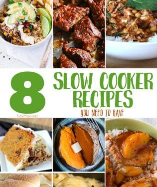 8 Slow Cooker Recipes you NEED to have for busy nights. From family friendly casseroles to dessert. Dinner has never been so easy! Get all the recipes at TidyMom.net