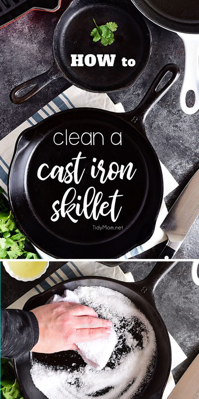 "Do you have a cast iron pan tucked away in your cabinet because you're not sure how to clean a cast iron skillet""?! The care and keeping of this versatile workhorse isn't that difficult.  The best thing is, properly seasoned and maintained cast iron can last a lifetime and be handed down for generations! Learn how to clean a cast iron skillet at TidyMom.net"