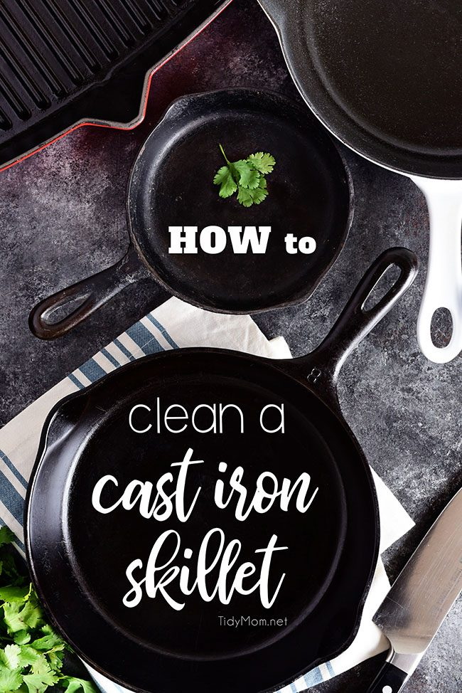 Do you have a cast iron pan tucked away in your darkest cabinet because you're not sure how to clean a cast iron skillet? The care and keeping of this versatile workhorse isn't that difficult.  The best thing is, properly seasoned and maintained cast iron can last a lifetime and be handed down for generations! Learn how to clean a cast iron skillet at TidyMom.net!