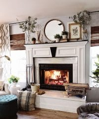 Late winter fireplace with roaring fire!!
