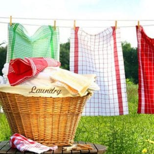 Laundry hanging on a line outdoors