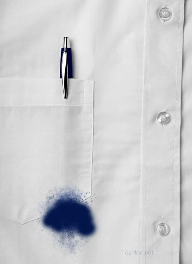 close up of a white shirt with a pen stain