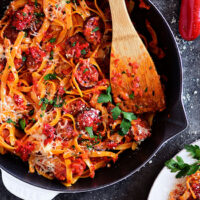 Roasted Red Pepper Fettuccine with Smoked Sausage