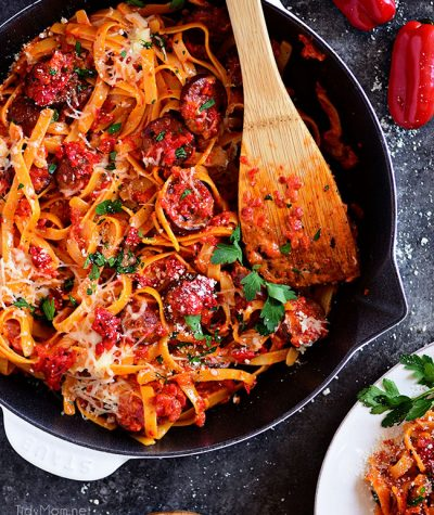 Roasted Red Pepper Fettuccine with Smoked Sausage in skillet