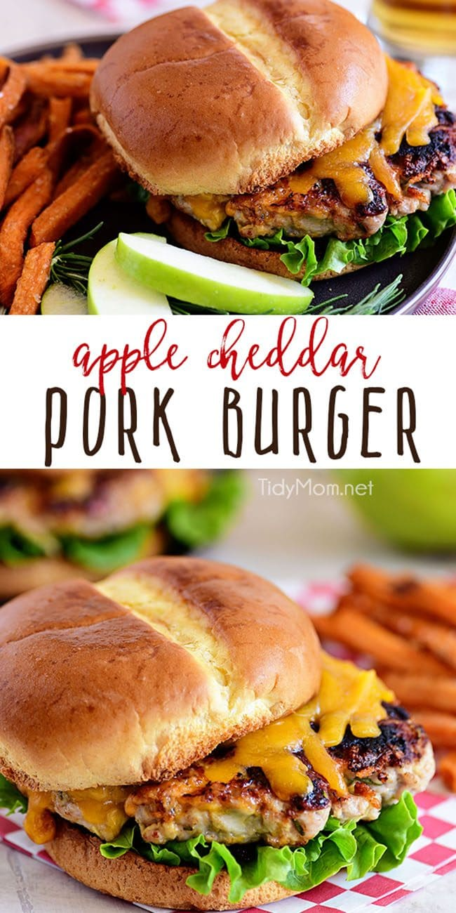 Apple Cheddar Pork Burgers are a simple dinner solution the whole family will devour!! Made with just five ingredients and packed with flavor, tart apples and sharp cheddar (inside and out) are going to elevate your burgers to a whole new dimension with an unexpected flavor that everyone is going to love! Print full recipe at TidyMom.net #burgers #pork
