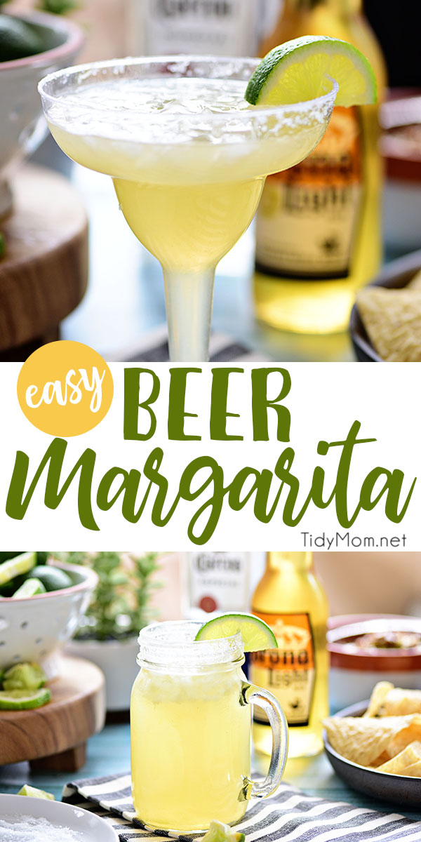 This easy recipe for Beer Margaritas has only 3 ingredients and is dripping with Mexican flavors. The best Beergarita is light, not too sweet, refreshing and super easy, to make! Perfect for Cinco de Mayo or any celebration! Get this cocktail recipe at TidyMom.net #margarita #cocktailrecipes