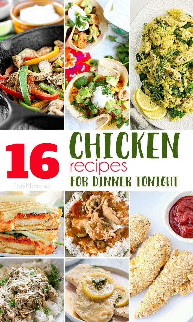 "Chicken has been saving dinner for years! If your family is like mine and loves chicken recipes for dinner, you're in luck!!  These 16 dishes are here to solve your ""What's for dinner"" dilemma! I hope you're hungry! 16+ Delicious Chicken Recipes for dinner tonight at TidyMom.net #chicken #dinner #chickenrecipe"