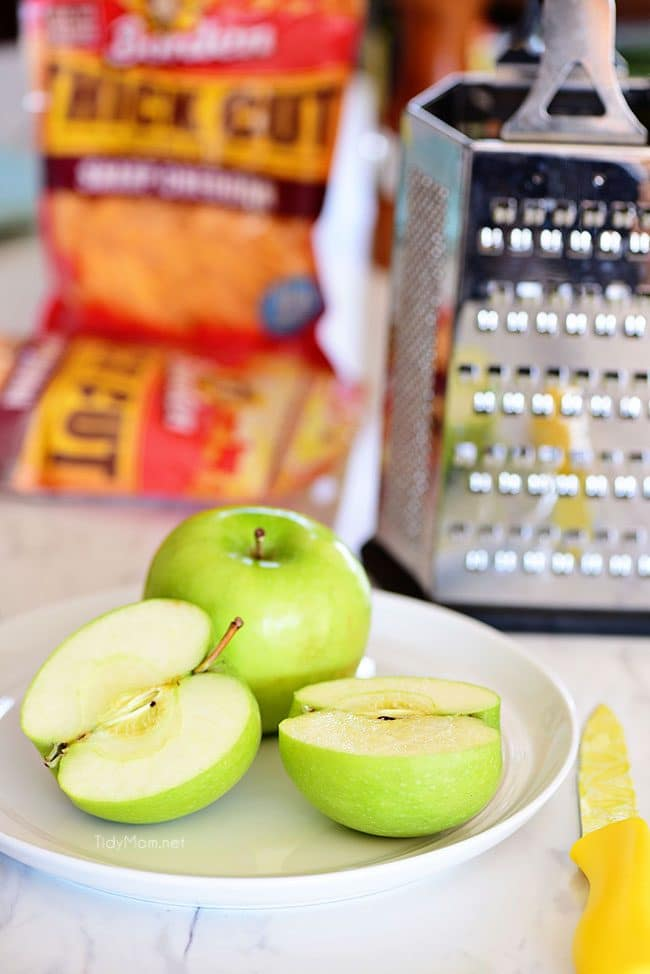 Granny Smith apples are another surprise ingredient in these Apple Cheddar Pork Burgers