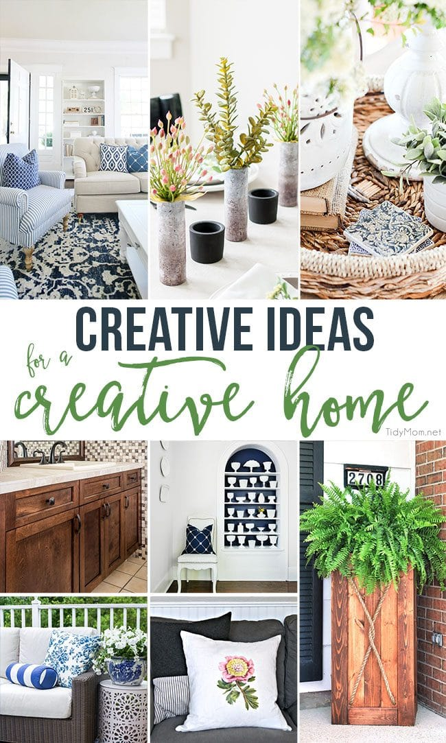 If you're looking for ways to make your home more special, more attractive or just more fun........ these Creative Ideas for a Creative Home are sure to get those gears turning. Visit TidyMom.net for all the details. #homedecor
