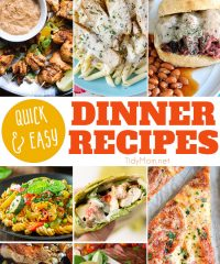 Think you are too busy for a good meal at home―especially when you're hungry and your family is hungry? Each of these Quick and Easy Dinner Recipes is ready in 30 minutes or less. Simple enough for a busy weeknight, and still delicious enough to serve to company. Get all the recipes at TidyMom.net #dinner #quickdinner #easydinner
