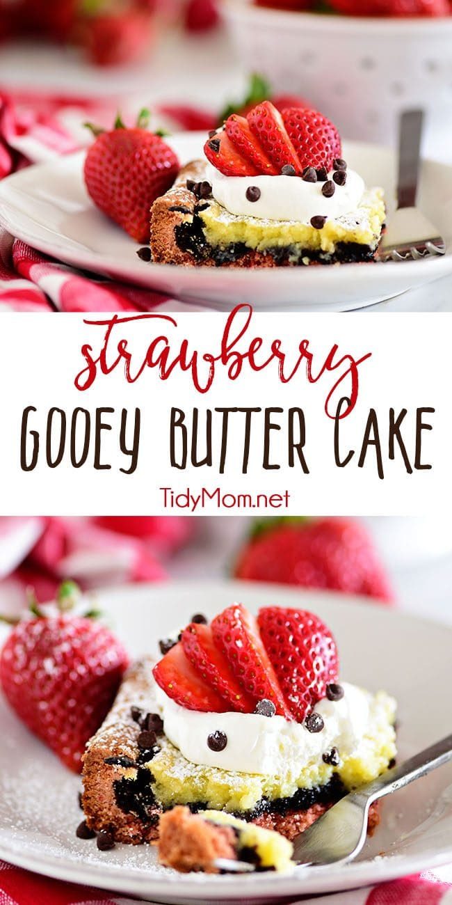 Strawberry Gooey Butter Cake photo collage
