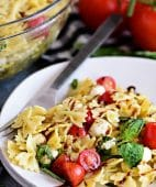 Caprese Pasta Salad is fresh, easy and a perfectly simple for summer potlucks and BBQs. It has all the flavors of a traditional Caprese salad in pasta form!