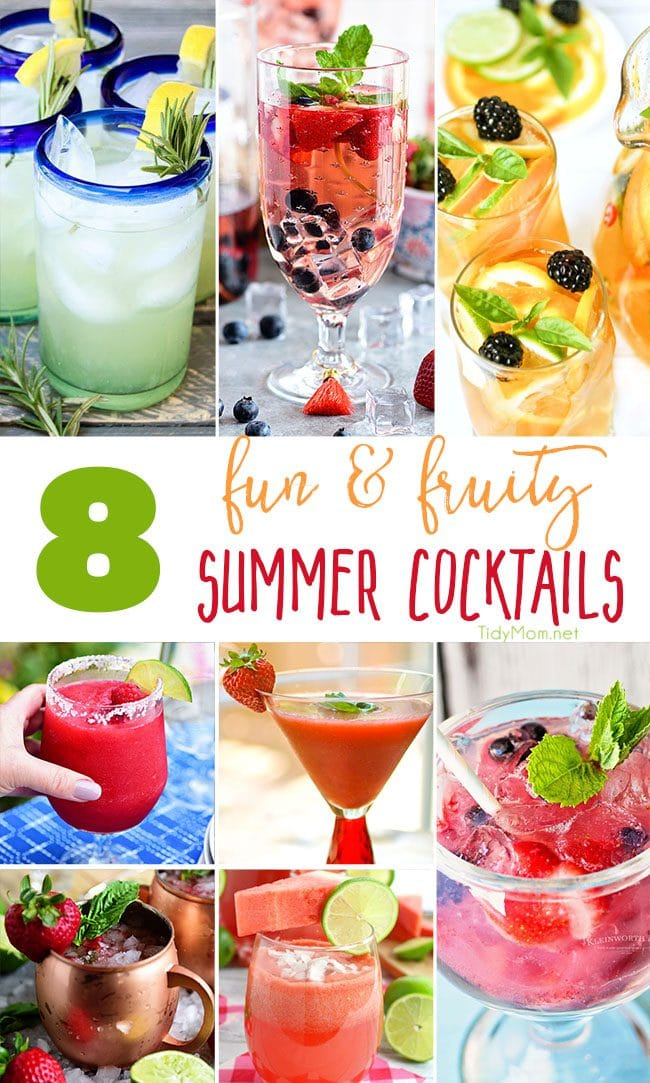There's no doubt that these fun and fruity summer cocktails recipes will make you want to grab a good book or a few friends and relax by the pool all season long. Visit TidyMom.net for all the cocktail recipes.