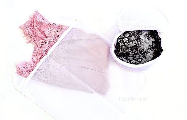 Laundry Hacks to make your clothes last longer- use lingerie bags for delicates