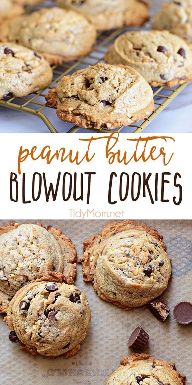 Peanut Butter Blowout Cookies are loaded with peanut butter, chocolate chips, peanut butter cups and honey roasted peanuts. Print the full recipe at TidyMom.net