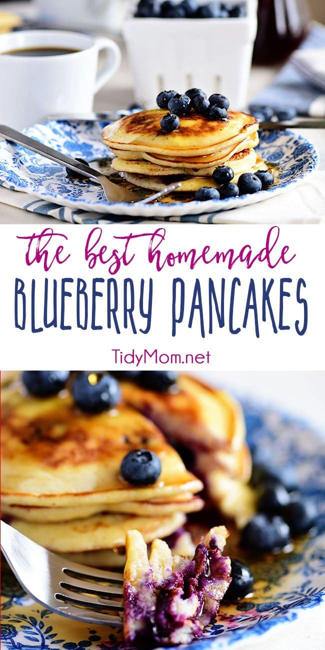 The Best Homemade Blueberry Pancakes on a blue plate