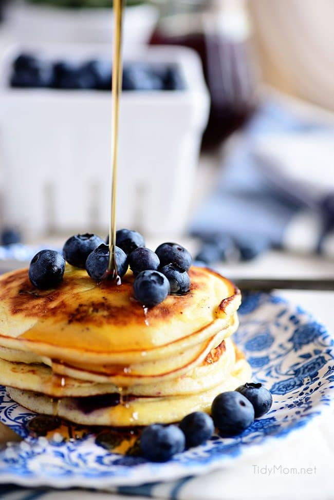 The Best Homemade Blueberry Pancakes. Print the full recipe at TidyMom.net