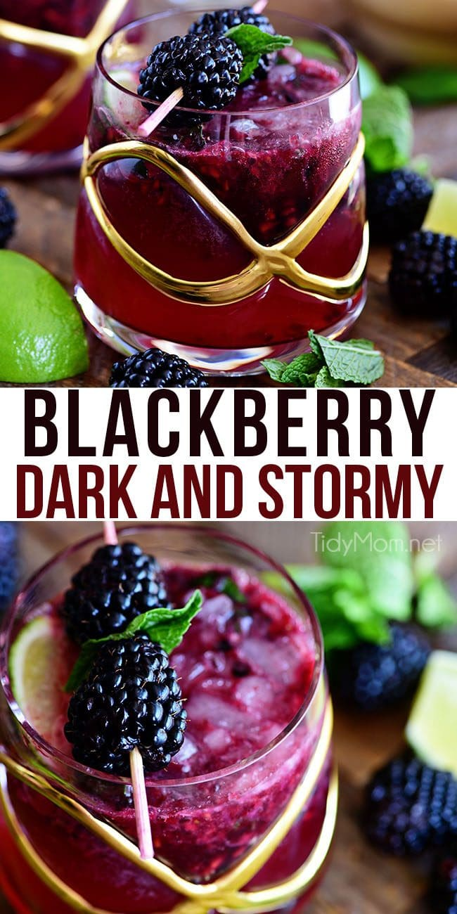 Prepare yourself for the weekend with a refreshing Blackberry Dark and Stormy. Light and fruity, and just boozy enough to make the perfect summer drink. Print the full recipe at TidyMom.net #cocktail #blackberry #rum #gingerbeer #darkandstormy