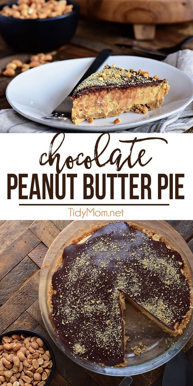 Every other pie out there is going to be jealous of this Chocolate Peanut Butter Pie. From the graham cracker crust to the peanut butter filling, topped off with a chocolate ganache, this chocolate peanut butter pie has it all! Print full recipe at TidyMom.net #pie #peanutbutter #chocolate #peanutbutterpie #dessert