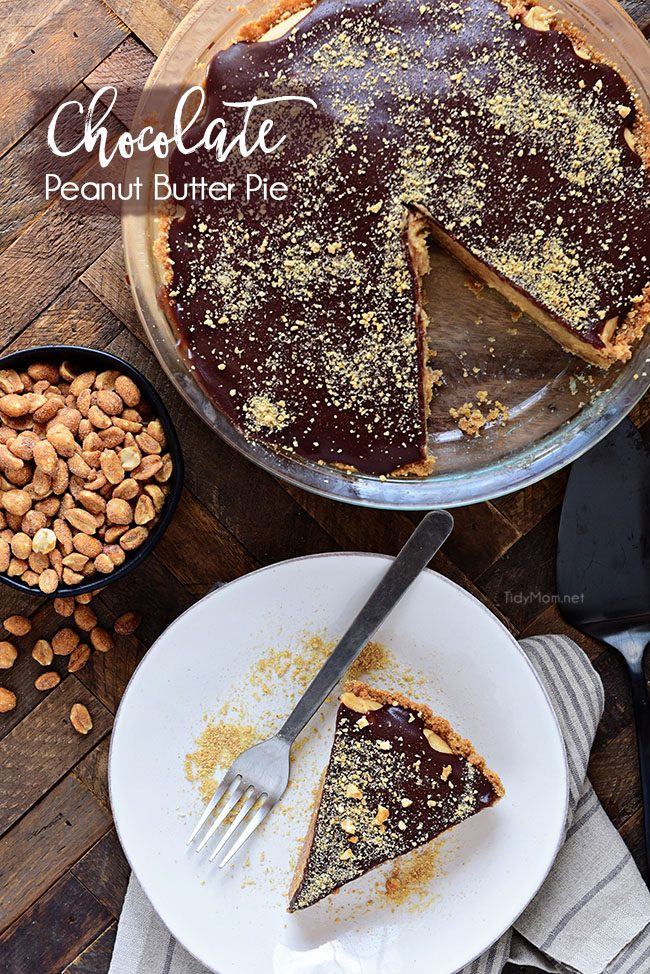 Dessert doesn't get any better than a Chocolate Peanut Butter Pie with layers of graham cracker, peanut butter filling, and chocolate. It's pie perfection. Print full recipe at TidyMom.net