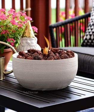 Not everyone has the space for a full size fire pit, but this DIY tabletop fire bowl is the perfect solution. With just a few supplies and a few minutes you can have the warmth and ambiance of a fire pit on your deck or patio. Get the full tutorial at TidyMom.net