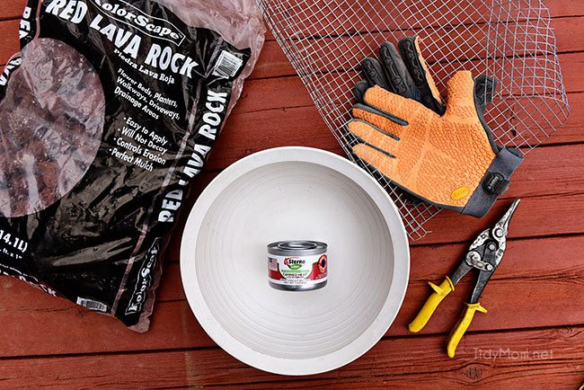 DIY tabletop fire bowl supplies