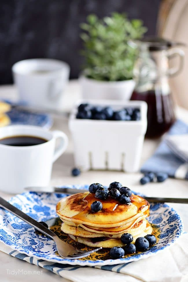 table set with The Best Homemade Blueberry Pancakes