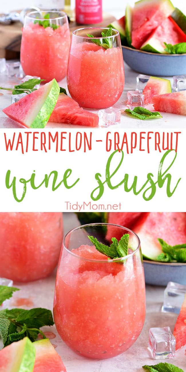 Take your bottle of Riesling to the next level with this recipe for a Watermelon Grapefruit Wine Slush. It's the backyard BBQ drink of the summer. Print full recipe at TidyMom.net #wine #slush #wineslush #watermelon #grapefruit #cocktail
