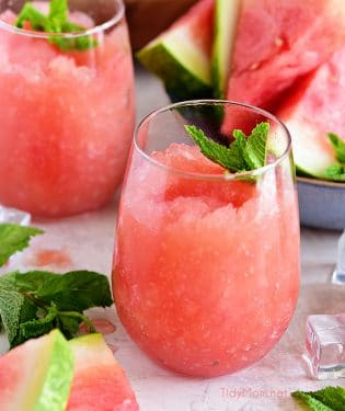 Take your bottle of Riesling to the next level with this recipe for a Watermelon Grapefruit Wine Slush. It's the backyard BBQ drink of the summer. Print full recipe at TidyMom.net