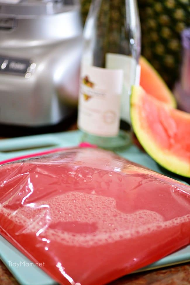Watermelon Grapefruit Wine Slush in a bag ready for the freezer