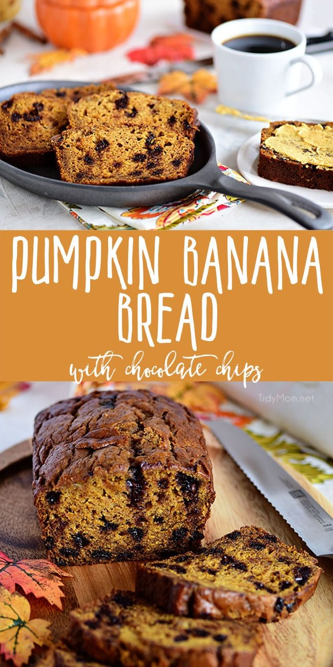 The aroma when this Chocolate Chip Pumpkin Banana Bread comes out of the oven is nothing short of heaven! This is the quick bread recipe every pumpkin spice lover needs! It's perfect for dessert, breakfast, gifting or just snacking! Print the full recipe at TidyMom.net #banana #pumpkin #bananabread #pumpkinbread #quickbread