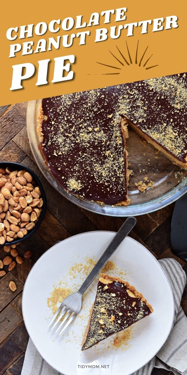 chocolate peanut butter pie with piece cut and platted