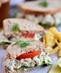 Creamy Dill Chicken Salad recipe at TidyMom.net