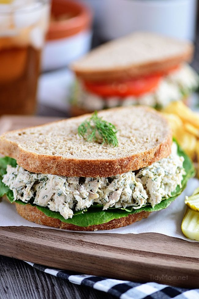 This Creamy Dill Chicken Salad is a twist on an old favorite with tons of room for variations and additions – the perfect dish for potlucks and picnics! A mix of dill weed, dijon mustard, greek yogurt, mayonnaise and more come together for chicken salad perfection! Serve on bread with your favorite toppings for a lunch you won't regret!
