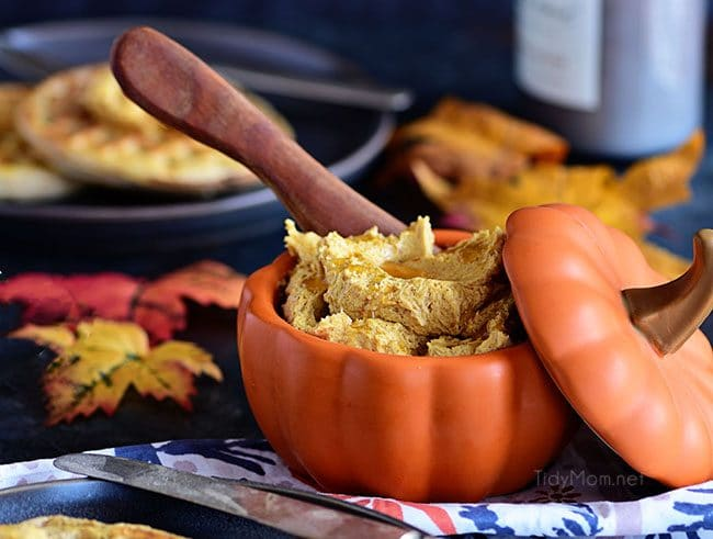 Pumpkin Spice Butter Spread has all your favorite fall spices whipped into a creamy fluffy honey butter spread for bread, waffles, pancakes and more.