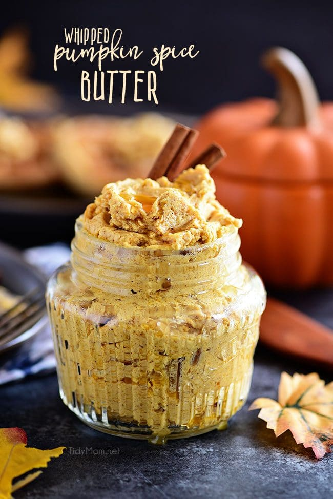 Pumpkin Spice Butter Spread has all your favorite fall spices whipped into a creamy fluffy spread for bread, waffles, pancakes and more. From breakfast to dinner, make sure you have plenty of this butter on hand because it's sure to go fast at all of your fall feasts. Print the full recipe at TidyMom.net #pumpkin #pumpkinspice #honeybutter