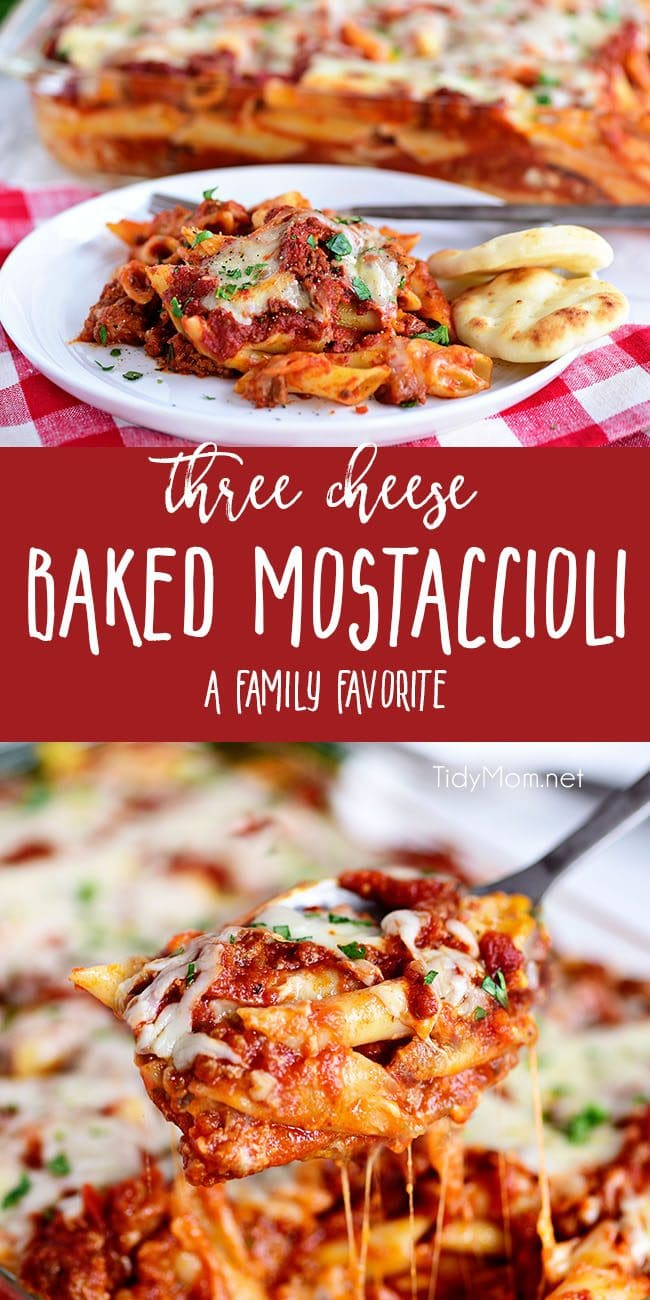 This family recipe for Three Cheese Baked Mostaccioli is a wonderful cheesy pasta dish the whole family will be asking for again and again! Get the full recipe + video at TidyMom.net #mostaccioli #pasta #cheese #familyrecipe #homemade
