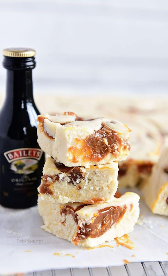 Baileys Fudge with a bottle of Irish Cream