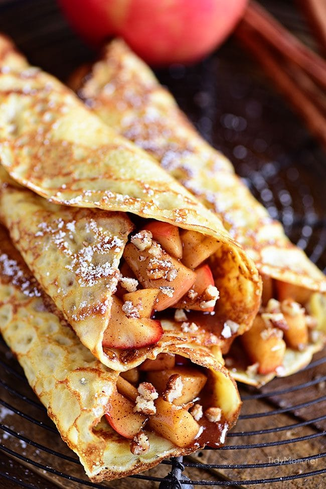 An Apple Crepes recipe that is perfect for fall.