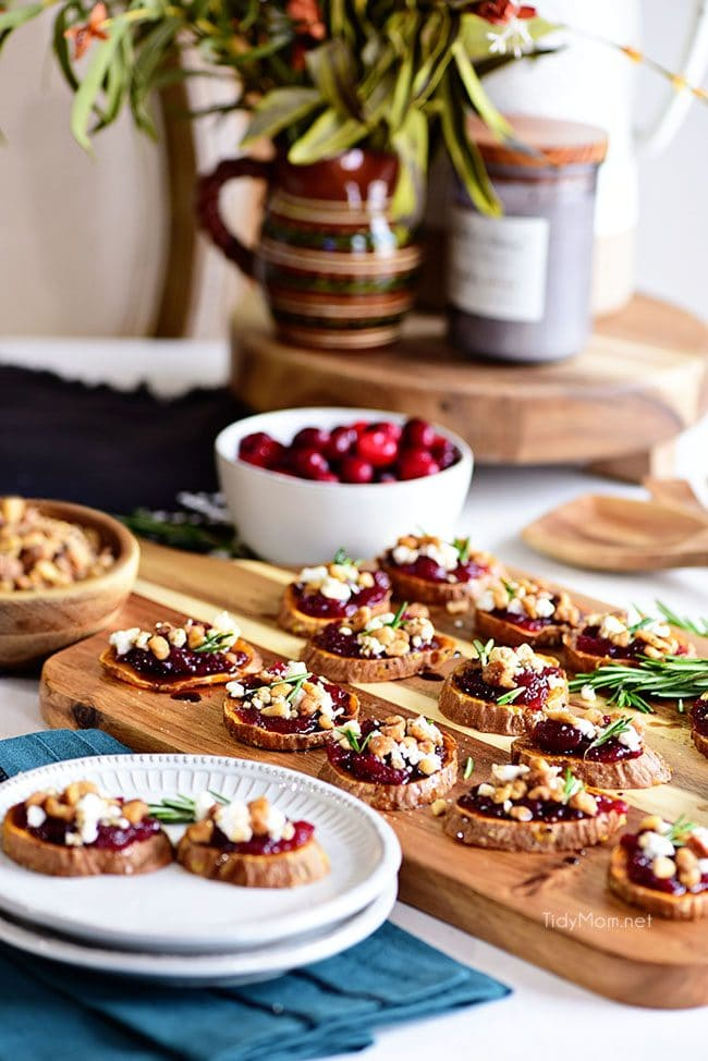 Cranberry Walnut Sweet Potato Rounds appetizer on table