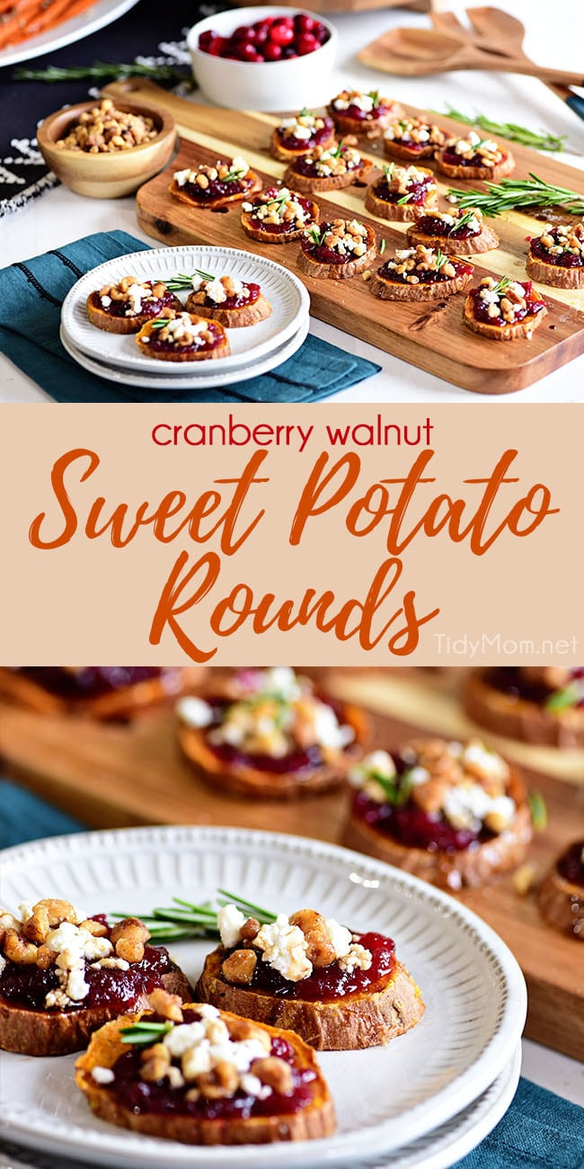 Make room for roasted Cranberry Walnut Sweet Potato Rounds on your table this holiday! This appetizer has all the flavors of Thanksgiving in one tasty bite. Printable recipe + how-to video at TidyMom.net #sweetpotatoes #appetizer #thanksgiving #cranberry #walnut