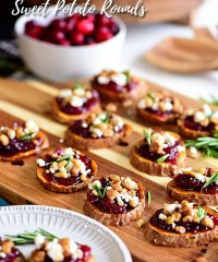 Cranberry Walnut Sweet Potato Rounds on wooden tray