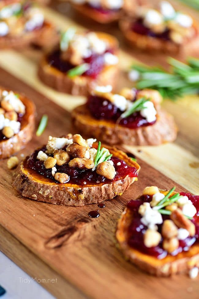 Cranberry Walnut Sweet Potato Rounds on tray