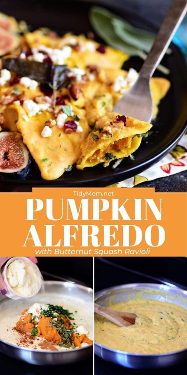 cooking pumpkin alfredo in a pan